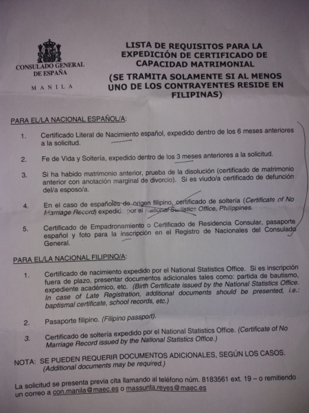 Documento del Consulado con los requisitos