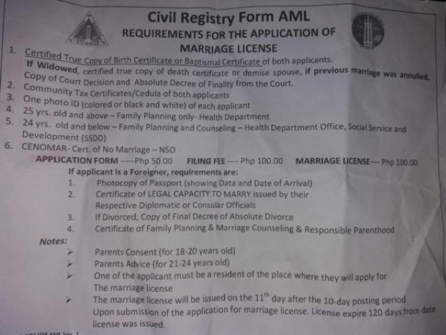 Requisitos para contraer matrimonio en Filipinas por el Registro Civil de Filipinas